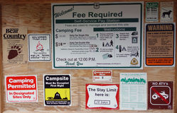 A campground with many rules and regulations Stock Photos