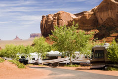 Campground in Monument Valley. Recreational vehicles camping in Monument Valley Royalty Free Stock Photos