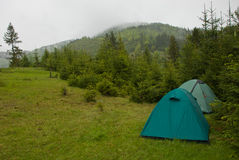 Campground in the mountains. Overcast morning Royalty Free Stock Photography