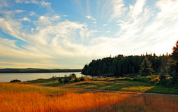 Campground in national park. This is a perspective of a campground near a lake in Mont-Tremblant National Park, Quebec, Canada. The picture was taken at the end Stock Images