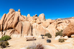 Campground with Picnic Table and Barbecue Grills in Joshua Tree National Park Stock Photo