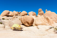 Campground with Picnic Table and Tent in Joshua Tree National Park Stock Photography
