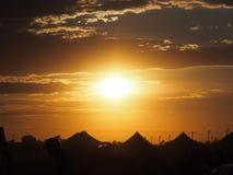 campground Por do sol fotografia de stock royalty free