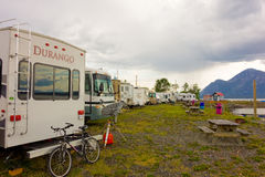 A campground in the yukon territories Royalty Free Stock Image