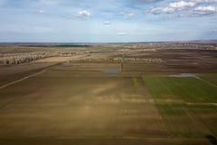 Campi aerei in molla in anticipo Colpo aereo dei campi Immagine Stock Libera da Diritti
