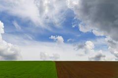 Campi coltivati per la semina ed i campi verdi Immagini Stock Libere da Diritti
