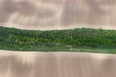 Campi dall'aria Sistema la foto aerea Fotografia aerea dei campi verdi Il verde sistema la vista aerea Immagini Stock Libere da Diritti