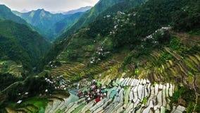 Campi dei terrazzi del riso nella provincia di Ifugao filippine Lasso di tempo stock footage