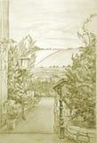 Campi del coltivatore illustrazione di stock
