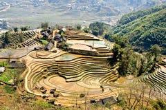 Campi del riso e del villaggio Fotografia Stock
