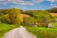 Campi dell'azienda agricola lungo una strada non asfaltata nella contea di York rurale, Pensilvania Fotografie Stock