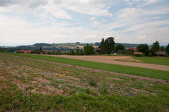 Campi di agricoltura e prati, Svizzera Fotografia Stock Libera da Diritti