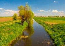 Campi di agricoltura e un canale fotografia stock