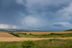 Campi di grano e della tempesta immagini stock libere da diritti