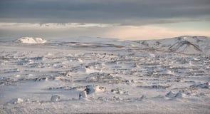 Campi di neve dell'Islanda Immagini Stock Libere da Diritti