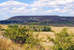 Campi e case gialli verdi ed asciutti nella distanza sul pendio di alta collina contro un cielo nuvoloso blu Posto di Fotografie Stock