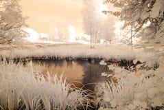 campi e foreste della campagna Immagine infrarossa Fotografie Stock
