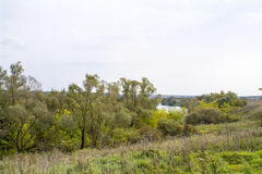 Campi e foreste nella caduta in Russia centrale - le portate superiori del fiume di Oka Fotografia Stock Libera da Diritti