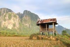 Campi e montagna e cottage Fotografie Stock Libere da Diritti