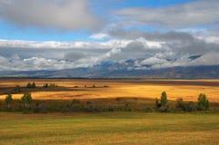 Campi, nubi e montagne gialli. fotografia stock