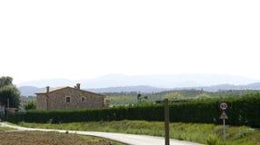Campi rurali di piantatura e di architettura Immagine Stock