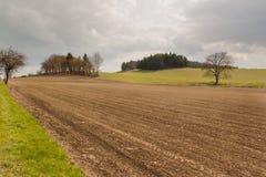 Campi seminati in repubblica Ceca Un giorno di molla nuvoloso nei campi Fotografie Stock