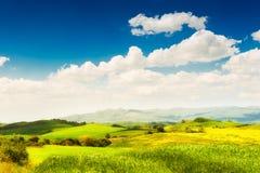 Campi verdi ed il cielo blu in Toscana, Italia immagini stock libere da diritti