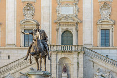 Campidoglio. Rome, Italy, - January 05, 2015: Campidoglio square, Marco Aurelio statue dating 175 AD (the original is in musei capitolini Stock Photography