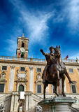 Campidoglio square and Marco Aurelio statue in Rome Royalty Free Stock Photo