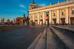 Campidoglio square in Rome at sunset. Italy Royalty Free Stock Photo