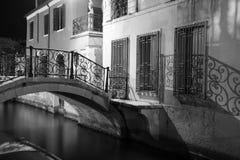 Night view Ponte Giustinian, on the Rio de San Vidal. royalty free stock image