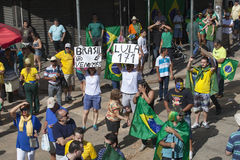 Anti-government protests in Brazil. Campinas, Brazil - August 16, 2015: anti-government protests in Brazil, asking for Dilma Roussefs impeachment over corruption Stock Photography