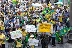 Anti-government protests in Brazil. Campinas, Brazil - August 16, 2015: anti-government protests in Brazil, asking for Dilma Roussefs impeachment over corruption Royalty Free Stock Images