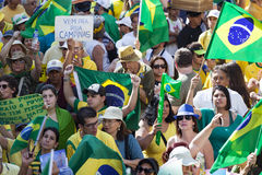 Anti-government protests in Brazil. Campinas, Brazil - August 16, 2015: anti-government protests in Brazil, asking for Dilma Roussefs impeachment over corruption Royalty Free Stock Photos