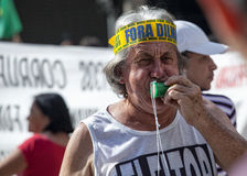 Campinas, Brazil - August 16, 2015: anti-government protests in Brazil, asking for Dilma Roussef's impeachment Stock Photography