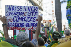 Campinas, Brazil - August 16, 2015: anti-government protests in Brazil, asking for Dilma Roussefs impeachment Stock Images