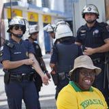 Campinas, Brazilië - Augustus 16, 2015: anti-government protesten in Brazilië, die om de beschuldiging van Dilma vragen Roussef royalty-vrije stock afbeelding