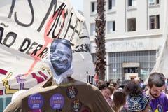 Campinas, São Paulo, Brésil - 29 septembre 2018 Démonstration contre le candidat présidentiel brésilien de droite Jair Bolsonaro photo libre de droits