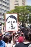 Campinas, São Paulo, Brésil - 29 septembre 2018 Femmes de jour national contre le politicien d'extrême droite Jair Bolsonaro image libre de droits