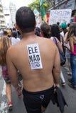 Campinas, São Paulo, Brésil - 29 septembre 2018 Jour national des protestations contre Bolsonaro images libres de droits