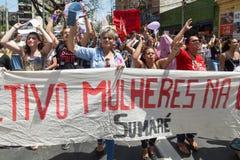 Campinas, São Paulo, Brésil - 29 septembre 2018 Protestation de femmes contre le politicien d'extrême droite Jair Bolsonaro images stock