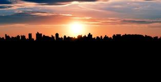 Campinas, SP - Brazilië: Silhouet van cityscape Royalty-vrije Stock Afbeeldingen