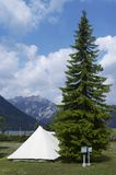 Camping. In mountainsan and blue sky Royalty Free Stock Image