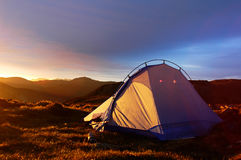 Camping. Scenery of camping on the top of the mountains with blue skies as background Royalty Free Stock Images