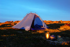 Camping. Scenery of camping on the top of the mountains with blue skies as background stock photography