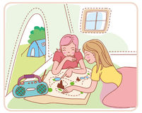 Camping. Two girls in the camp Stock Photo