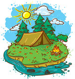 Camping. Cute camping landscape (color version Stock Photography