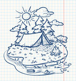 Camping. Cute camping landscape (doodle version Stock Photos