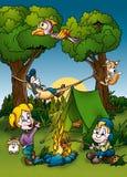 Camping. Cartoon Background Illustration, Bitmap Royalty Free Stock Image