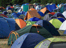 Camping. Sites with huge number of tents stock photos